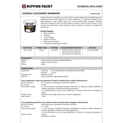 1.3kg Nippon Paint Flexiseal Wall Sealer White or Grey