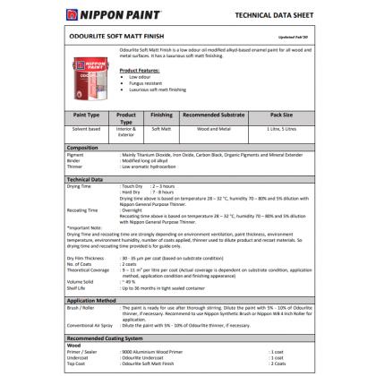 5L Nippon Paint Odourlite Soft Matt Finish