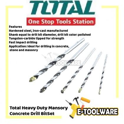 Total Heavy Duty Mansory Concrete Drill Bit Set 5PCS - TACSD5055