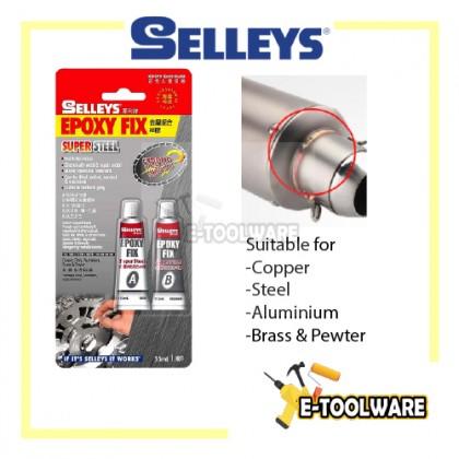 Selleys Epoxy Fix Super Steel 35ml A+B Repair Copper Steel Aluminum Brass Pewter Metal Tank Radiator Araldite 2 Ton